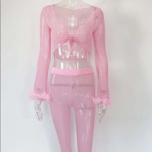 Pretty Pink See Through Shirt & Pants Set 💕